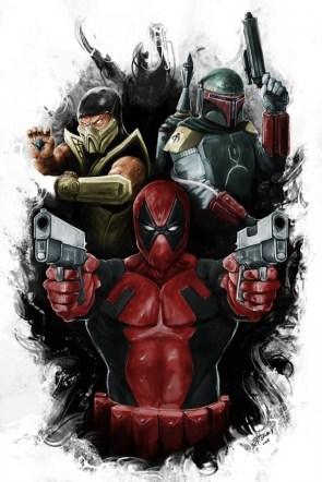 masked men – scorpion, bobba fett and deadpool