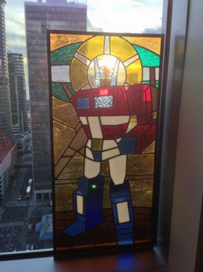 optimus prime stained glass