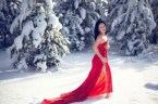 red dress in snow