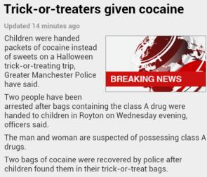 trick or treaters given cocaine