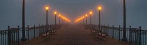 a pier of lights