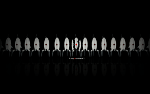 Is anyone there – Portal Turret Wallpaper