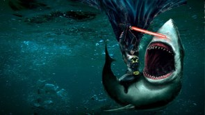 batman with a laser sword vs a shark