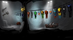 superhero costumes in the batcave