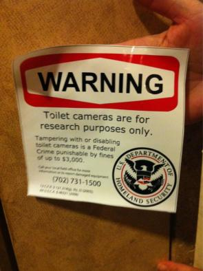 warning – toilet cameras are for research purposes only