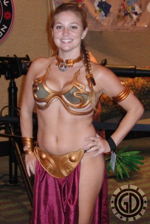 Slave Leia cosplayer with plenty of underboob