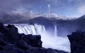 waterfall rocket launch