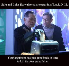 Sulu and Luke skywalker at a toaster in a TARDIS