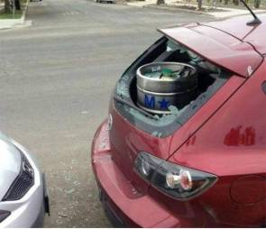 how not to transport beer in a mazda