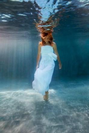 lady walks in water