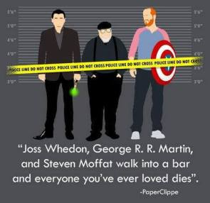 Joss Whedon, George R. R. Martin and Steven Moffat walk into a bar