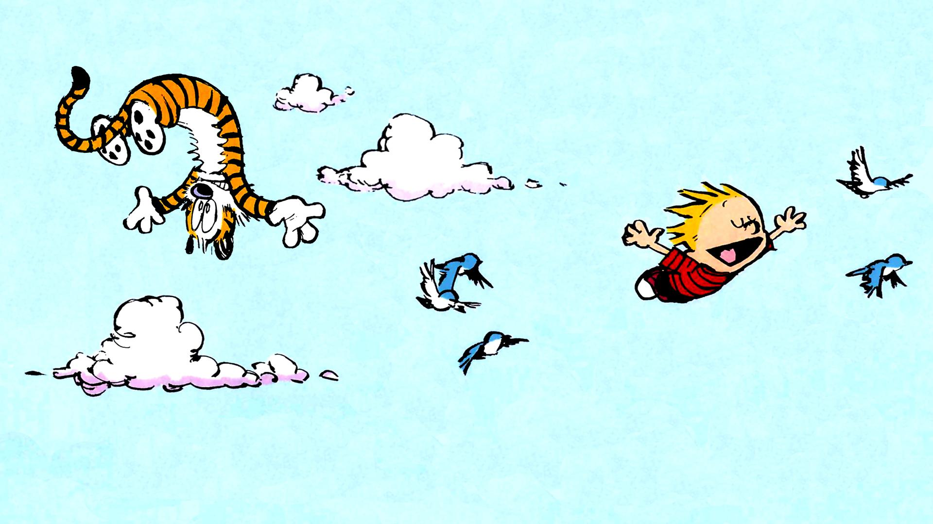 Calvin And Hobbes Fall Wallpaper Calvin And Hobbes Flying Myconfinedspace