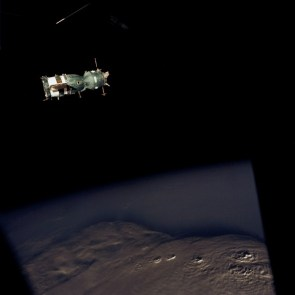 space junk over mountains