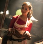 Clara Oswin Oswald with apron on