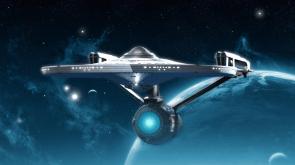 Enterprise 1701-A in blue space