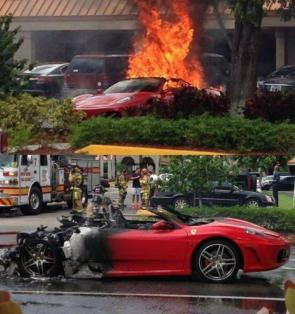 burnt sports car