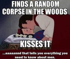 finds a random corpse in the woods – kisses it