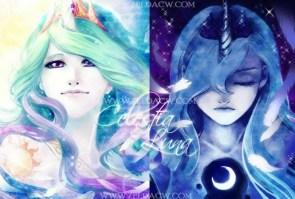 celestia and luna humanazied