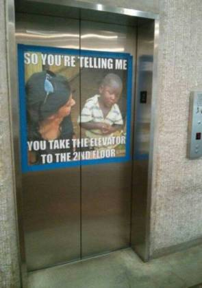 You take the elevator to the 2nd floor