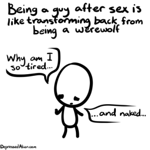 being a guy after sex