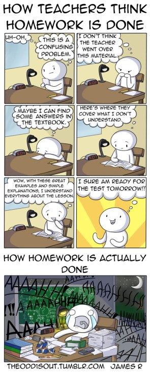 how teachers think homework is done
