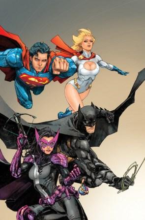 Batman, Superman, Powergirl, Huntress
