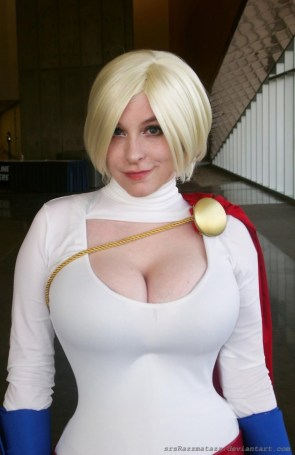 power girl powergirl comic con san diego 2013 cosplay sexy big tits boobs breasts busty huge powerful smirk by_srsrazzmatazz