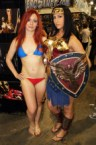 supergirl swimsuit and wonder woman cosplayer
