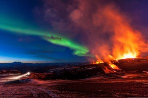 volcano and the northern lights in iceland