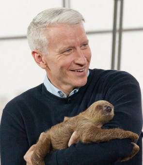 Anderson Cooper with a sloth