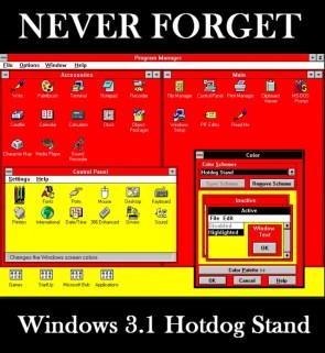 never forget – windows 3.1 hotdogg stand