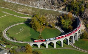 Two Rhaetian Railways ABe 44 III multiple units with a local train from St. Moritz to Tirano