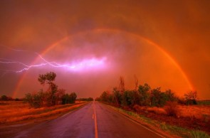 epic dust storm rainbow lightning