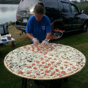 massive outdoor pizza