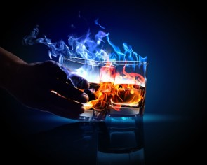Alcohol in flames