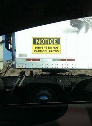 Drives do not carry Burritos
