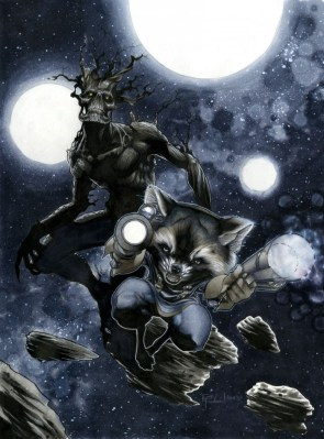 Rocket and Groot in Space