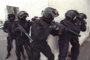 swat team at the corner