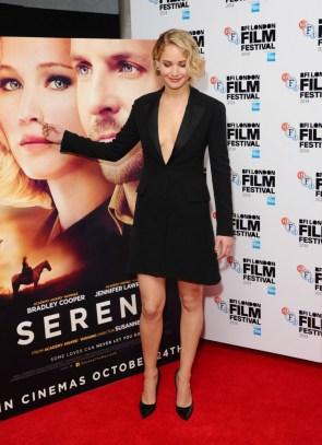 Jennifer Lawrence picking her movie poster nose