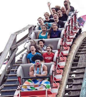 angry clown riding a coaster