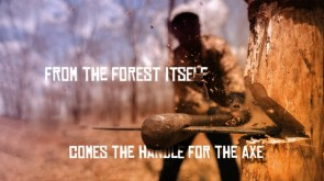 from the forest itself comes the handle for the axe