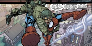 Spider-man carrying soldier