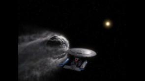 The Enterprise 1701-D Rides Shotgun to an astroid