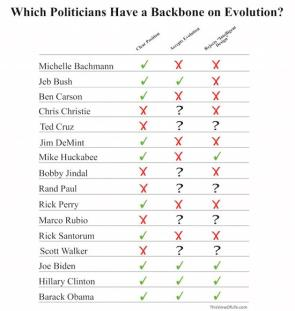 Which Politicians have a backbone on evolution