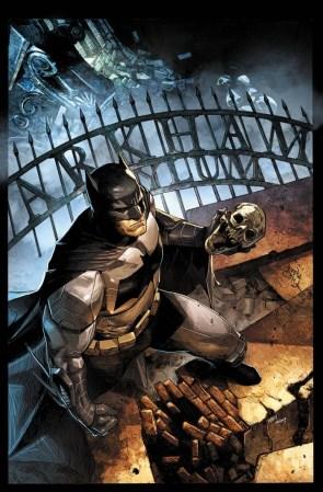 Batman holding a skull