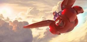 Baymax and Hiro Flying