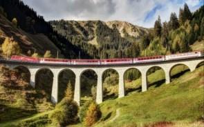 Glacier Express train on the Alps