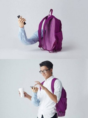 Phone holding backpack