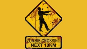 Shot up zombie crossing