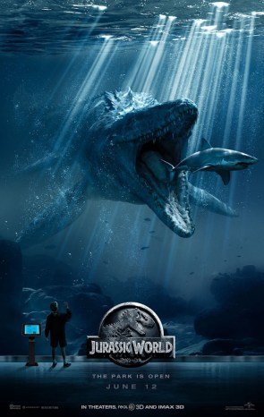 new jurassic world poster features the mosasaurus